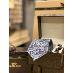 Blue Paisley Necktie and Cufflinks Combo