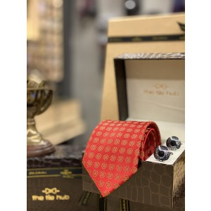 Red Polka Necktie and Cufflinks Combo