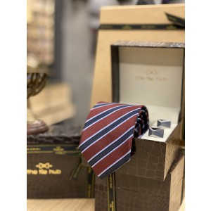 Maroon Stripe Necktie and Cufflinks Combo