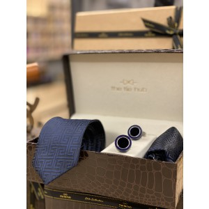 Blue Self design Necktie,Pocket Square and Cufflinks Combo