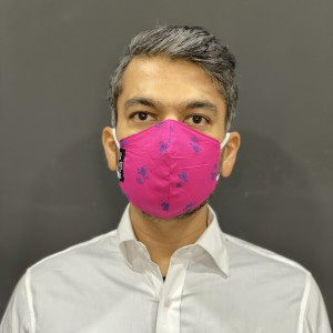 Pink with Blue Bird Print Face Mask