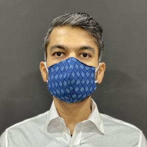 Blue Square Print Cotton Face Mask by The Tie Hub