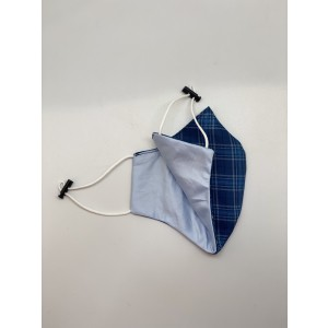 Blue Checkered 100% Premium Cotton Reusable Reversible Face Mask