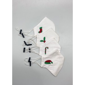 Christmas Collection Embroidered 4 Mask set for Kids