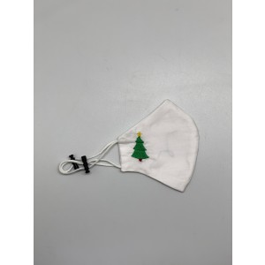 Xmas Tree Embroidered 100% Premium cotton White Facemask