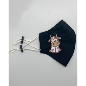 Cow Black Embroidered Mask