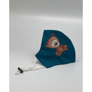 Teddy Bear Teal Embroidered Mask