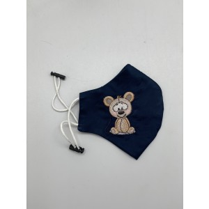 Teddy Bear Navy Embroidered Mask