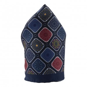 Block Blue 100% Silk Pocket Square