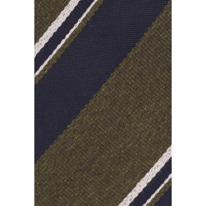 Honor Olive Green With Navy and White Stripe 50% Silk 50% Wool Necktie