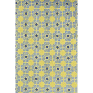 Gardenia Yellow with Aqua Floral 100% Silk Necktie