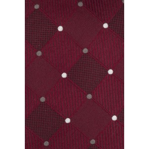 Maroon Checkered and White Polka100% Silk Necktie