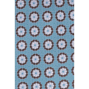 Alfresco Aqua with White and Brown Floral 100% Silk Necktie