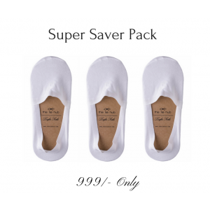 No Show Socks Pack of 3 with all over Silicon lining