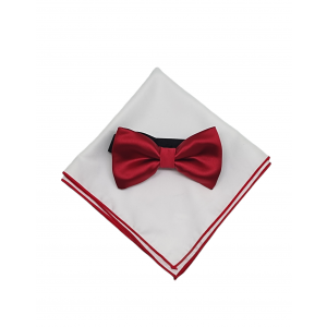 Red Bow Tie and Pocket Square Combo