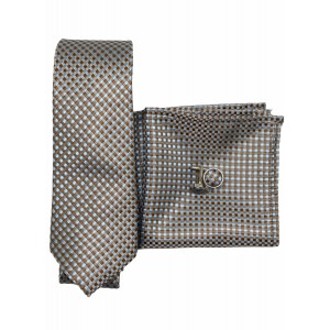 Brown with Sky Blue Checkered Microfiber Necktie Combo