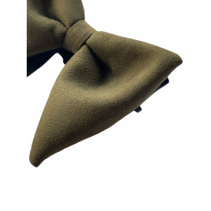 Solid Olive Green Suede Butterfly Bow Tie