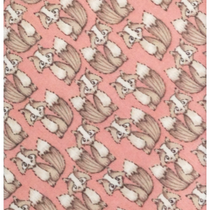Pink with Brown Fox Regular Handmade 100% Cotton Necktie