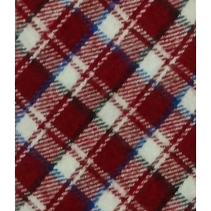 Red and White Plaid Reversible Slim 100% Wool Necktie