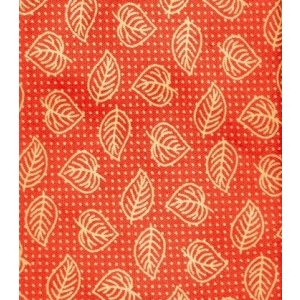 Red with Cream Banyan Leaves Slim Handmade 100% Cotton Necktie