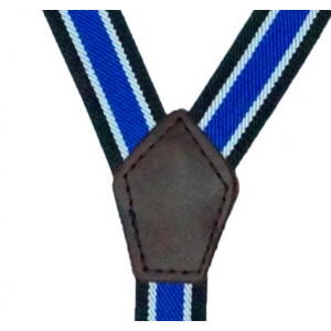 Octov Blue and White striped Y Back Suspender