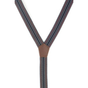 Maroon Multi Stripe Y Back Slim Suspender