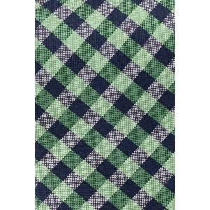 Dawson Green and Navy Checkered 100% Silk Necktie