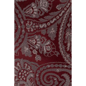 Twill Paisley Maroon and Grey 100% Silk Necktie