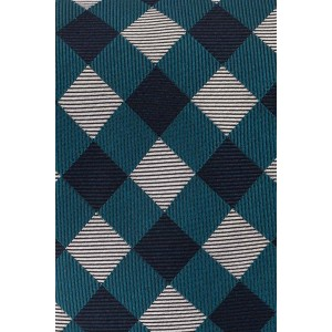 Old City Teal and Grey Checkered 100% Silk Necktie