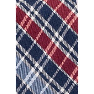 Bison Blue With Red and White Checkered 100% Silk Necktie