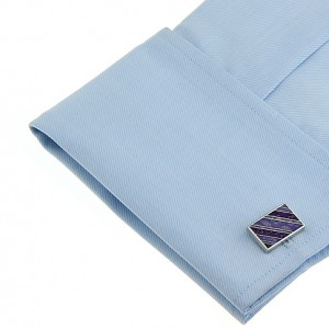 Purple Damask Stripes Rectangle Cufflinks
