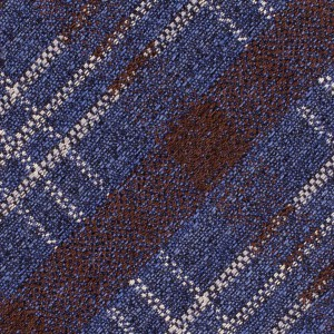 Newton Blue and Brown Plaid  7 Fold Silk Necktie