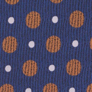 Blue Silk 7 Fold Necktie With Golden And White Dots