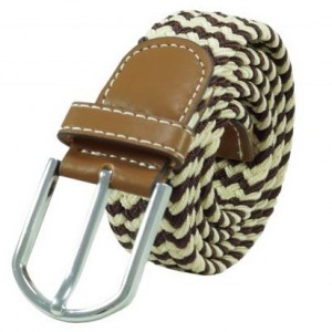 Wave Braid  Brown and Cream Elasticated Belt