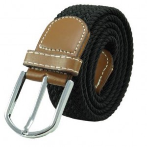 Solid Braid Black Elasticated Belt
