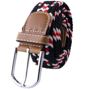 Mink-Black/Red/White Elasticated Woven Belt