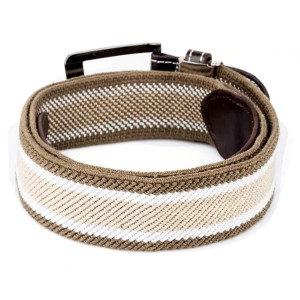Brown And Cream Woven Elasticated With Metal Buckle