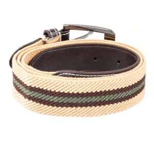 Beige And Brown Woven Elasticated Belt With Metal Buckle
