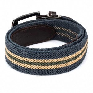 Teal And Beige Woven Elasticated Belt With Metal Buckle