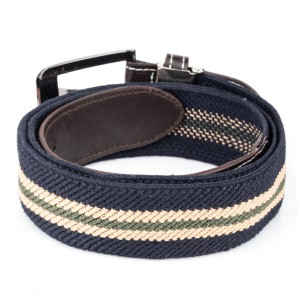 Navy Blue And Beige Woven Elasticated Belt With Metal Buckle
