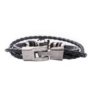 Anchor Black Stripe Wrist Band