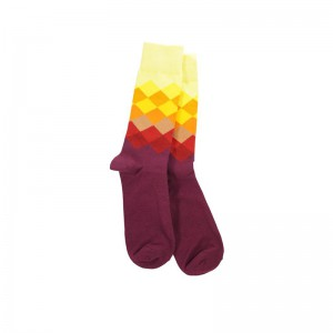 Rhombus - Burgundy/Light Yellow (Bright Socks)
