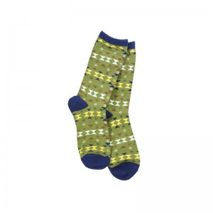 Porall Argyle - Olive Green (Bright Socks)