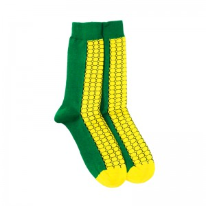 Corn Maize Yellow and Green Bright Socks
