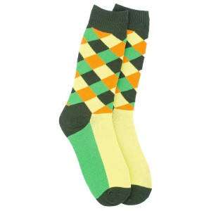 Multi Checks Green and Yellow Cotton Rich Socks