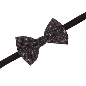 Anchor Black Pindots Cotton Bow Tie