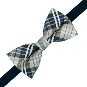 Pale Brown and Blue checkered Bow Tie