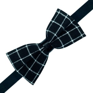 Prom Black Checkered Bow tie