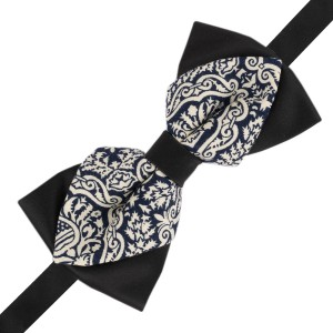 Diamond Tip Blue Paisley print cotton Bow tie