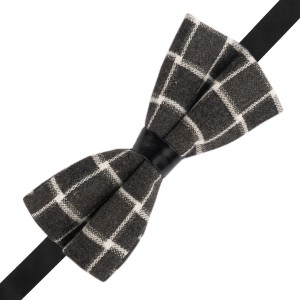 Prom Grey Checkered Wool Bow Tie
